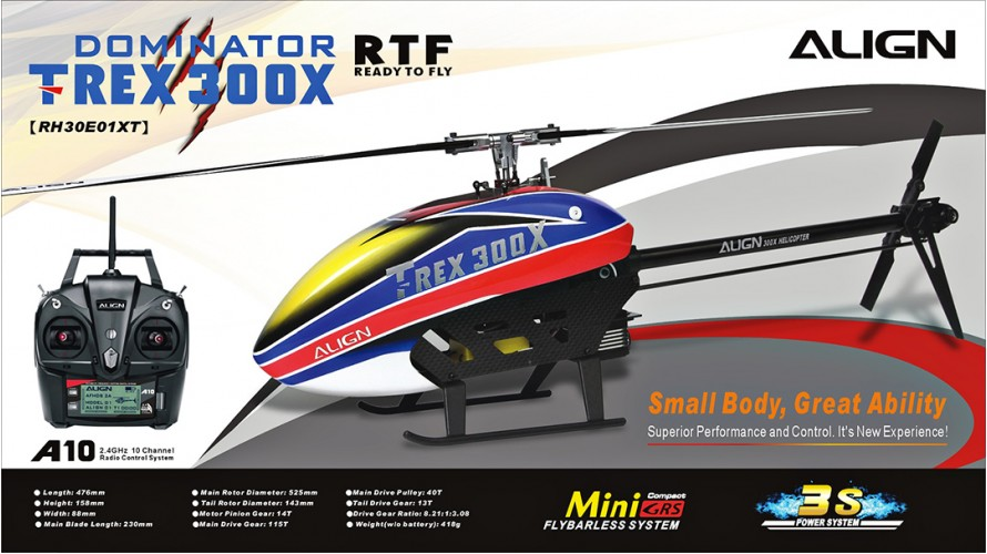 T-REX 300X Dominator Super Combo with A10 Ready to Fly RTF RH30E01X